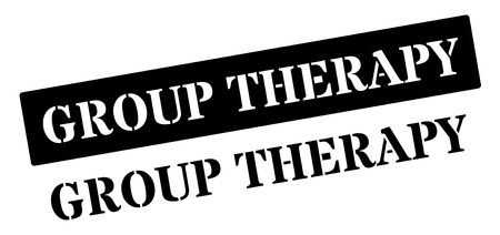 therapy group: Group Therapy black rubber stamp on white. Print, impress, overprint. Illustration