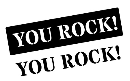 red rock: You Rock! Black rubber stamp on white. Print, impress, overprint.