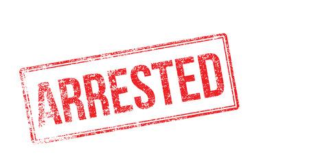 lawless: Arrested red rubber stamp on white. Print, impress, overprint. Illustration