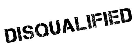 elimination: Disqualified black rubber stamp on white. Print, impress, overprint.