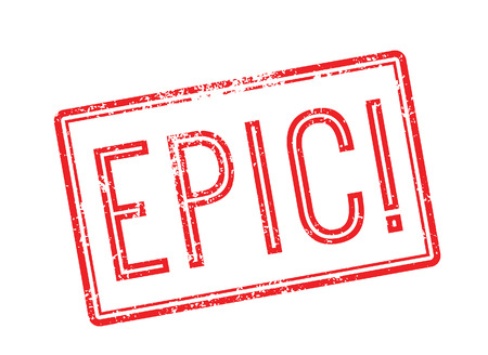 epic: Epic red rubber stamp on white. Print, impress, overprint. Illustration