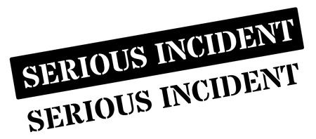 incident: Serious incident black rubber stamp on white. Print, impress, overprint.