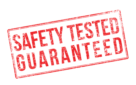 certainty: Safety tested guaranteed red rubber stamp on white. Print, impress, overprint.
