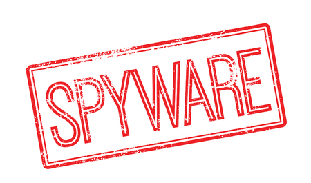 spyware: Spyware red rubber stamp on white. Print, impress, overprint.
