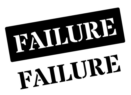 defeated: Failure black rubber stamp on white. Print, impress, overprint.