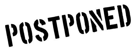 Postponed black rubber stamp on white. Print, impress, overprint.