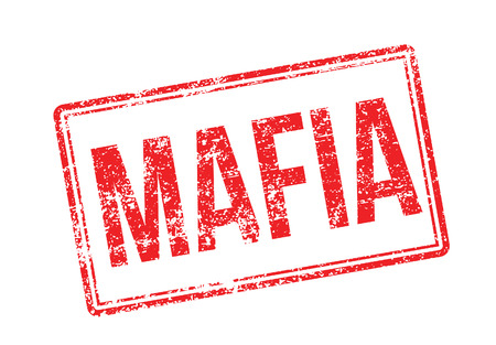 syndicate: Mafia red rubber stamp on white. Print, impress, overprint.