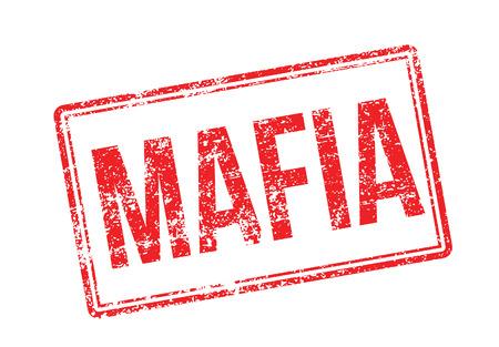 Mafia tampon en caoutchouc rouge sur fond blanc. Imprimer, impressionner, overprint. Vecteurs