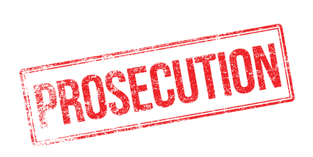 proceeding: Prosecution red rubber stamp on white. Print, impress, overprint. Illustration