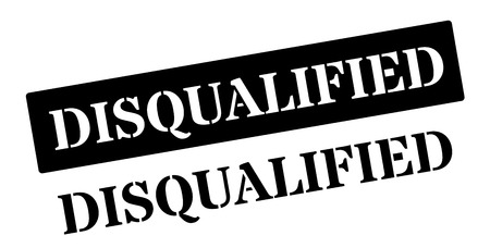 eliminated: Disqualified black rubber stamp on white. Print, impress, overprint.