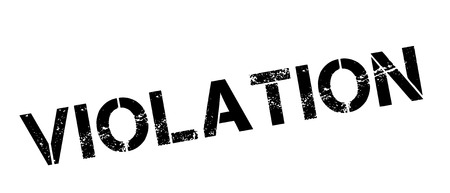 violated: Violation black rubber stamp on white. Print, impress, overprint.