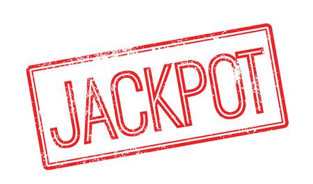 zonk: Jackpot red rubber stamp on white. Print, impress, overprint.