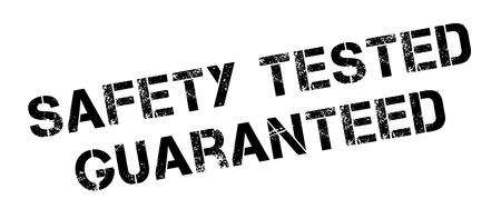 preservation: Safety tested guaranteed black rubber stamp on white. Print, impress, overprint. Illustration