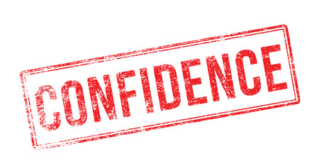 confidence: Confidence red rubber stamp on white. Print, impress, overprint. Illustration