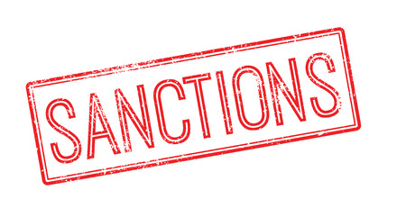 imposed: Sanctions red rubber stamp on white. Print, impress, overprint.