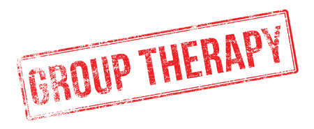 group therapy: Group Therapy red rubber stamp on white. Print, impress, overprint. Illustration