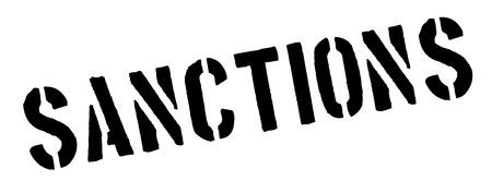 imposed: Sanctions black rubber stamp on white. Print, impress, overprint.