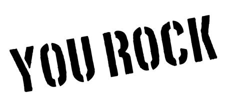 rockstar: You Rock! Black rubber stamp on white. Print, impress, overprint.