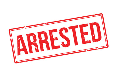 arrested: Arrested red rubber stamp on white. Print, impress, overprint. Illustration