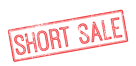 detachment: Short sale red rubber stamp on white. Print, impress, overprint. Illustration