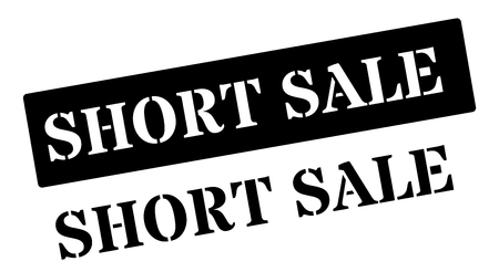 dissolution: Short sale black rubber stamp on white. Print, impress, overprint.