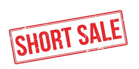short sale: Short sale red rubber stamp on white. Print, impress, overprint. Illustration