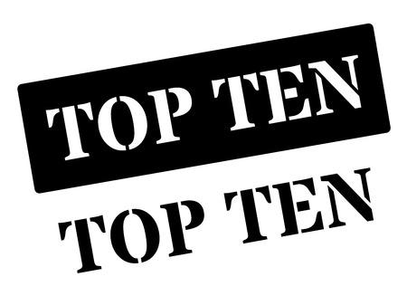 marvelous: Top Ten black rubber stamp on white. Print, impress, overprint. Illustration