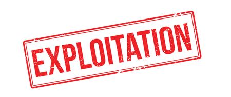 exploit: Exploitation red rubber stamp on white. Print, impress, overprint. Illustration
