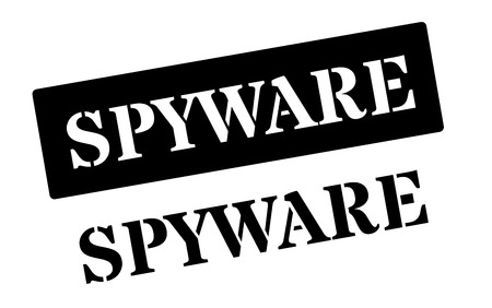 adware: Spyware black rubber stamp on white. Print, impress, overprint. Illustration