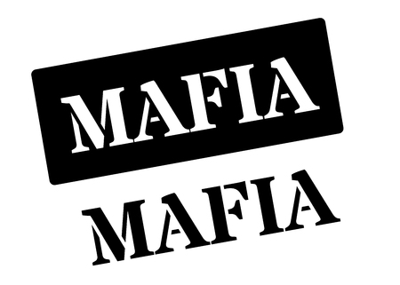godfather: Mafia black rubber stamp on white. Print, impress, overprint.