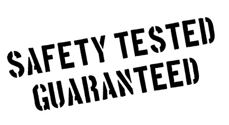certainty: Safety tested guaranteed black rubber stamp on white. Print, impress, overprint. Illustration