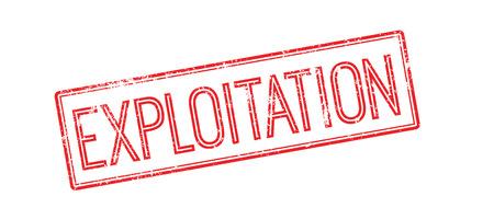misuse: Exploitation red rubber stamp on white. Print, impress, overprint. Illustration