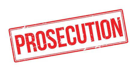 Prosecution red rubber stamp on white. Print, impress, overprint. Vektoros illusztráció