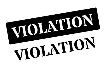 unlawful act: Violation black rubber stamp on white. Print, impress, overprint.