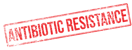 resisting: Antibiotic resistance red rubber stamp on white. Print, impress, overprint.