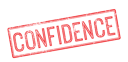 Confidence red rubber stamp on white. Print, impress, overprint.