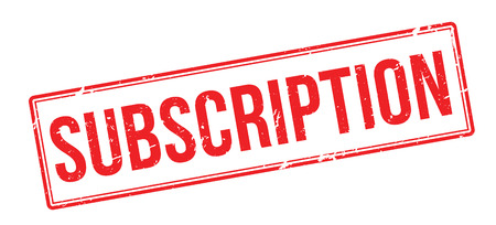 subscription: Subscription red rubber stamp on white. Print, impress, overprint.