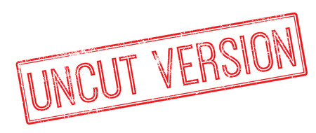 Uncut Version red rubber stamp on white. Print, impress, overprint.