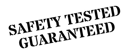 surety: Safety tested guaranteed black rubber stamp on white. Print, impress, overprint. Illustration