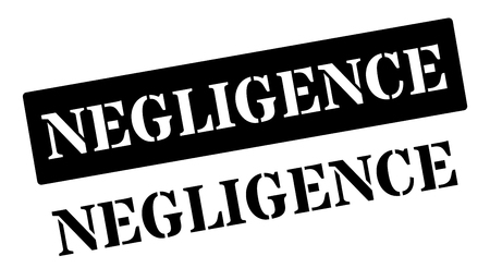 inattention: Negligence black rubber stamp on white. Print, impress, overprint.