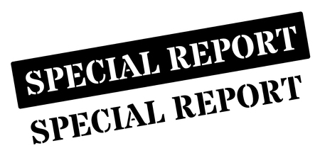 unbiased: Special report black rubber stamp on white. Print, impress, overprint.