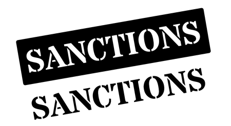 sanction: Sanctions black rubber stamp on white. Print, impress, overprint.