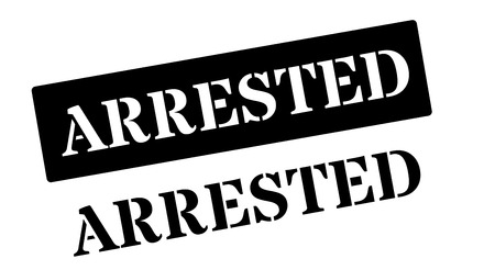 arrested: Arrested black rubber stamp on white. Print, impress, overprint.