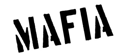 Mafia black rubber stamp on white. Print, impress, overprint.
