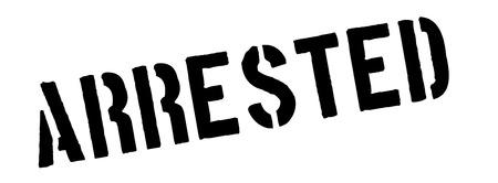 felony: Arrested black rubber stamp on white. Print, impress, overprint.