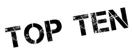 Top Ten sello de caucho negro en blanco. Imprimir, impresionar, sobreimpresión. Ilustración de vector