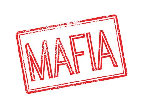 Mafia red rubber stamp on white. Print, impress, overprint.