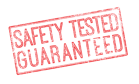 surety: Safety tested guaranteed red rubber stamp on white. Print, impress, overprint.