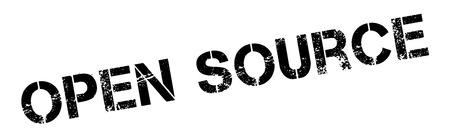 Open Source timbro di gomma nero su bianco. Stampa, impressionare, sovrastampa.