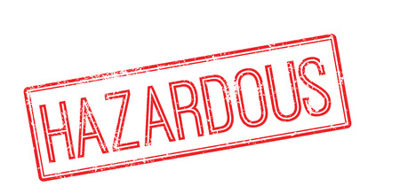 peril: Hazardous red rubber stamp on white. Print, impress, overprint. Illustration